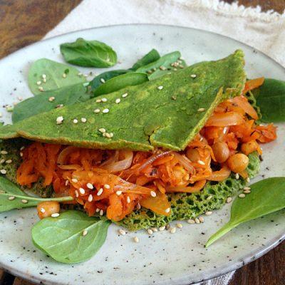 Spinatpandekager med lækkert grøntsagsfyld