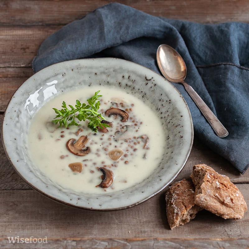 Persillerodssuppe med svampe og linser